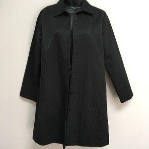Eileen Fisher XS light weight coat black circles